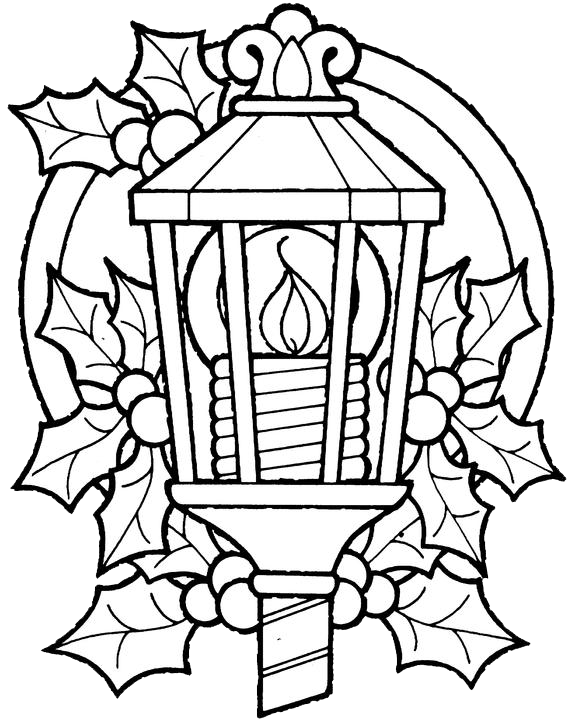 Christmas Lantern Coloring Pages 1 Purple Kitty