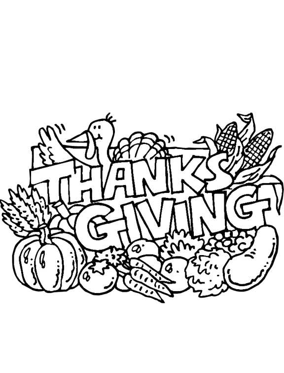 pilgrim feast coloring pages | Thanksgiving Feast Coloring Page | Purple Kitty