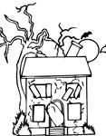abandoned house coloring page