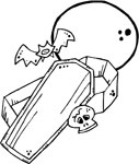 full moon over coffin coloring page