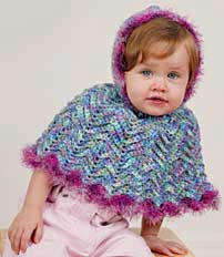 Free Vest Patterns And Crochet And Yarn Purple Kitty : Baby Style Poncho LT1432 Purple Kitty