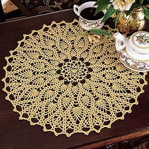 Hospitality Doily Thread Crochet Pattern Purple Kitty