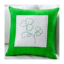 Shamrock Greenwork Pillow