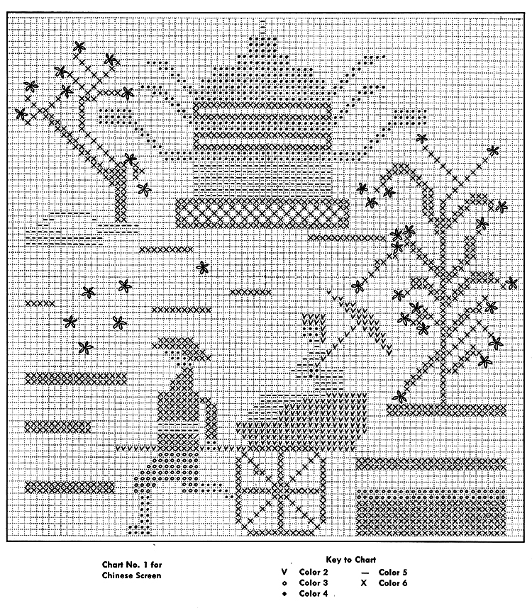 Chinese Screen Cross Stitch Chart