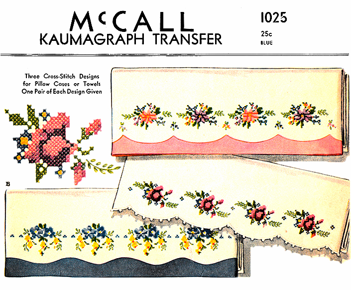 Floral Designs for Pillow Cases or Towels | McCall's No. 1025