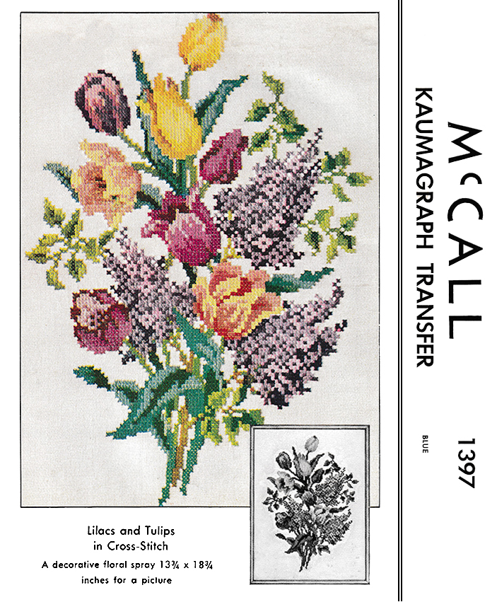 Lilacs and Tulips in Cross-Stitch | McCall's No. 1397