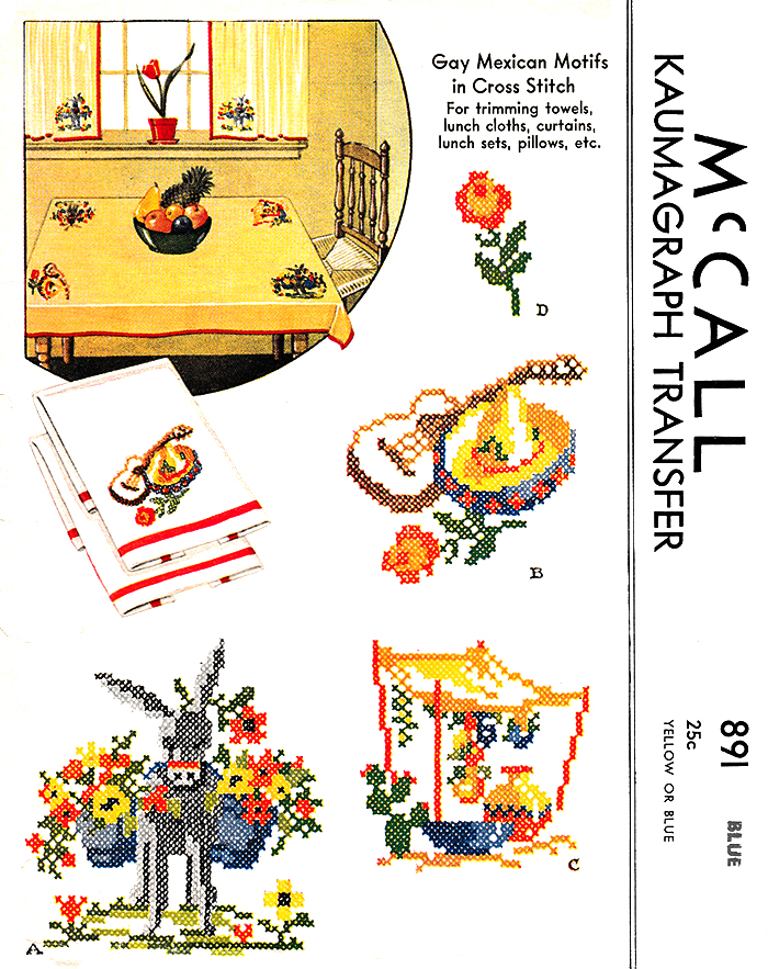 Mexican Motifs in Cross-Stitch | McCall's No. 891